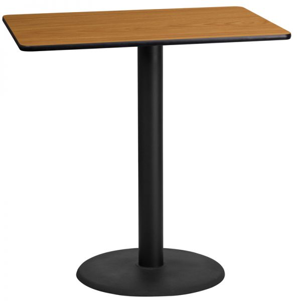 Flash Furniture 24'' x 42'' Rectangular Natural Laminate Table Top with 24'' Round Bar Height Table Base