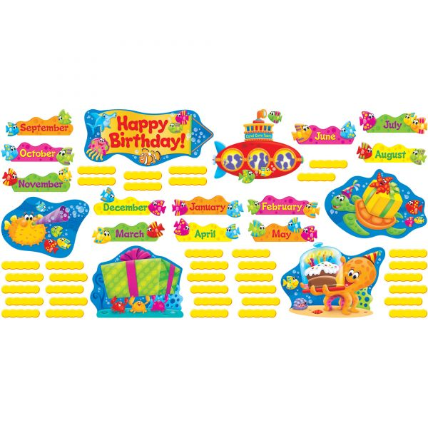TREND Sea Buddies Birthday Bulletin Board Set, 18 1/4 x 31, 110 Pieces