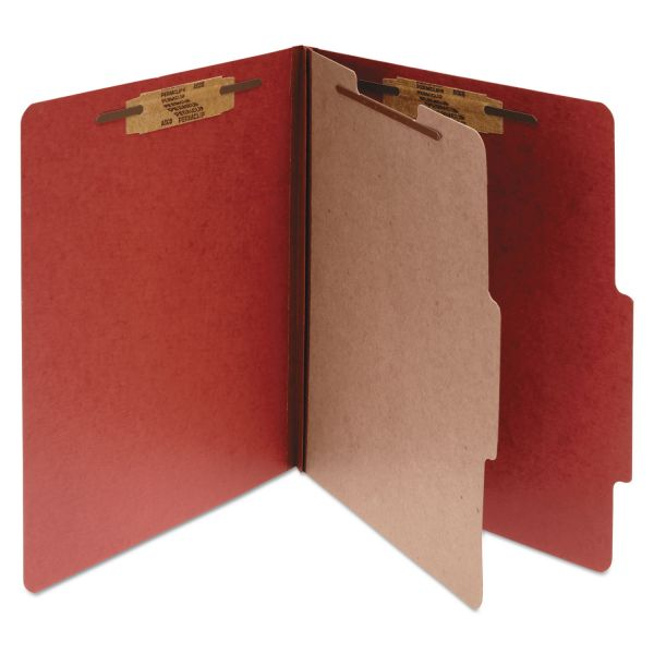 ACCO Pressboard 25-Pt Classification Folders, Letter, 4-Section, Earth Red, 10/Box