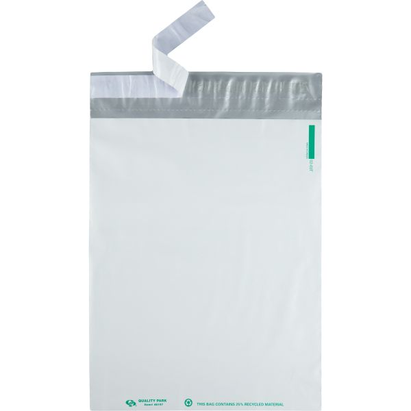 Quality Park Redi-Strip Recycled Poly Mailer, Side Seam, 9 x 12, White, 100/pack