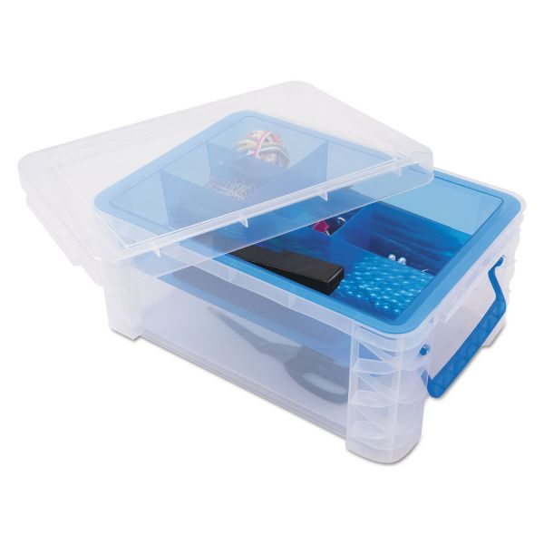 Advantus Super Stacker Divided Storage Box, Clear w/Blue Tray/Handles, 10.3 x 14.25x 6.5