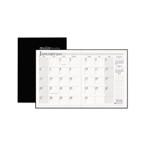 House of Doolittle Recycled Ruled Planner with Stitched Leatherette Cover, 8.5x11, Black, 2018-2020