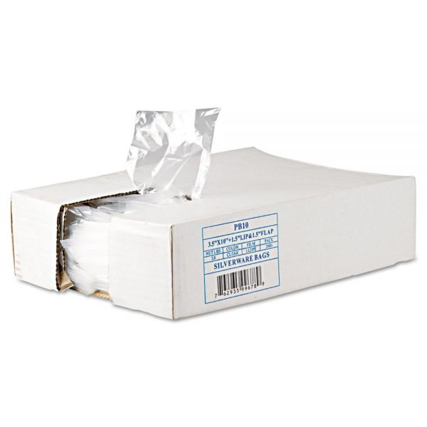Inteplast Group Get Reddi Silverware Bags, 3 1/2 x 10 x 1 1/2, .7mil, Clear, 2000/Carton