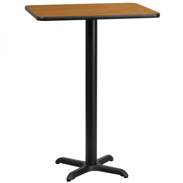 Flash Furniture 24'' x 30'' Rectangular Natural Laminate Table Top with 22'' x 22'' Bar Height Table Base