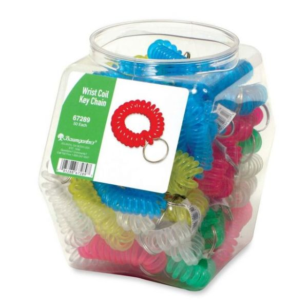 Baumgartens Wrist Coil Keychains Hexagonal Tub Display of 50 ASSORTED Colors (67289)