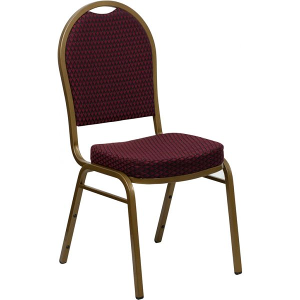Flash Furniture HERCULES Series Dome Back Stacking Banquet Chair with Burgundy Patterned Fabric and 2.5'' Thick Seat - Gold Frame