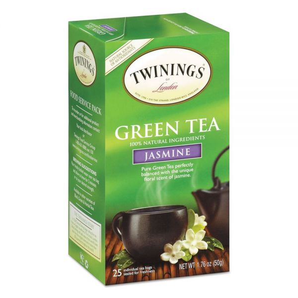 TWININGS Tea Bags, Green with Jasmine, 1.76 oz, 25/Box