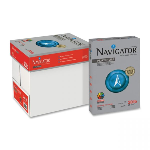 "Navigator Platinum Multi-Purpose White 11"" x 17"" Copy Paper"