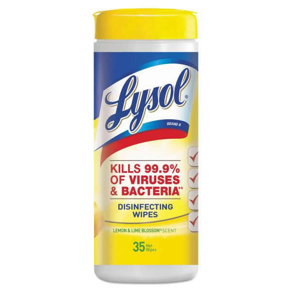 LYSOL Brand Lemon & Lime Blossom Disinfecting Wipes, 7 x 8, 35/Canister, 12 Canisters/Carton