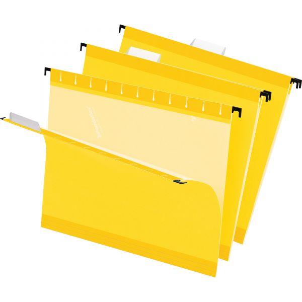 Pendaflex Reinforced Hanging Folders, 1/5 Tab, Letter, Yellow, 25/Box