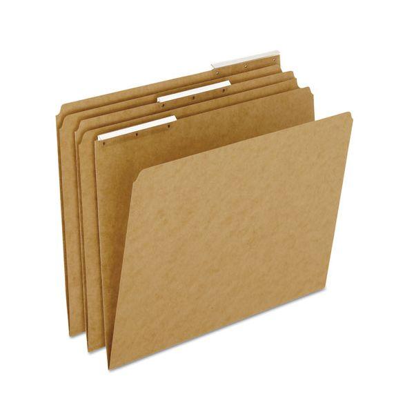 Pendaflex Kraft Angled Plastic Tab File Folders, 1/3 Cut Top Tab, Letter, Brown, 50/Box