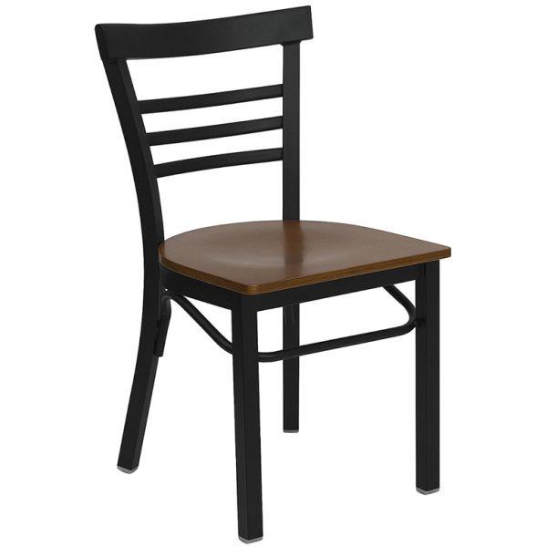 Flash Furniture Ladder Back Metal Restaurant Chair [XU-DG6Q6B1LAD-CHYW-GG]