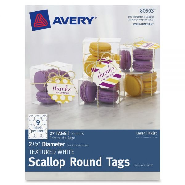 Avery Textured Scallop Round Tags