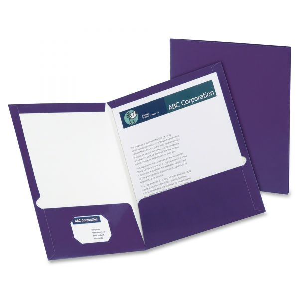 Oxford Purple Laminated Two Pocket Folders