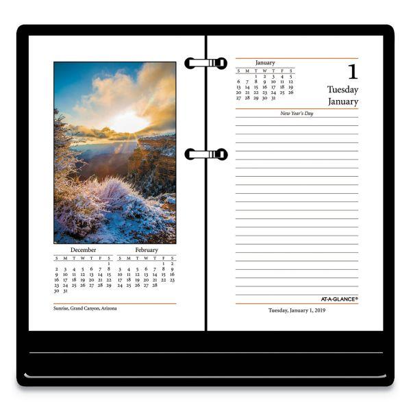 AT-A-GLANCE Photographic Desk Calendar Refill, 3 1/2 x 6, 2019