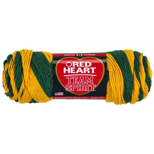 Red Heart Team Spirit Yarn - Green/Gold