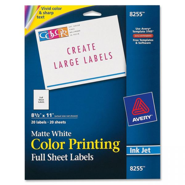 Avery Color Printing Full Sheet Labels