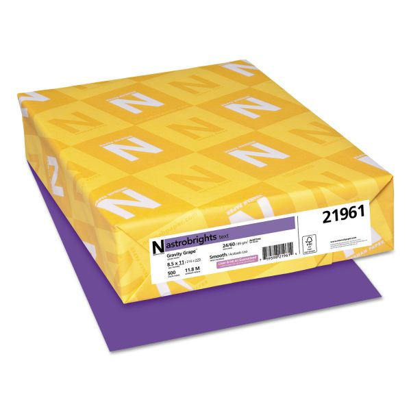 Astrobrights Color Paper, 24lb, 8 1/2 x 11, Gravity Grape, 500 Sheets