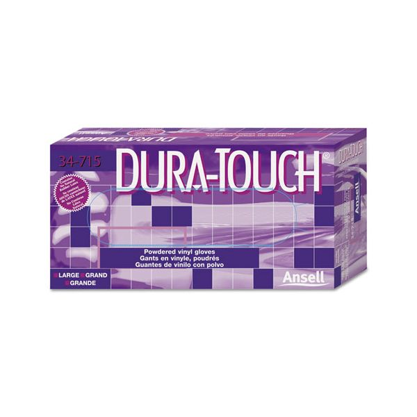 AnsellPro Dura-Touch PVC Powdered Gloves, Clear, Small, 100/Box