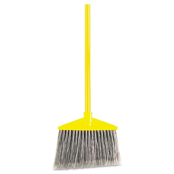 "Rubbermaid Commercial Angled Large Broom, Poly Bristles, 46 7/8"" Metal Handle, Yellow/Gray"