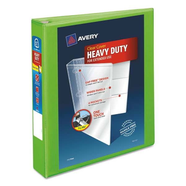 """Avery Heavy-Duty 3-Ring View Binder w/Locking EZD Rings, 1 1/2"""" Capacity, Chartreuse"""
