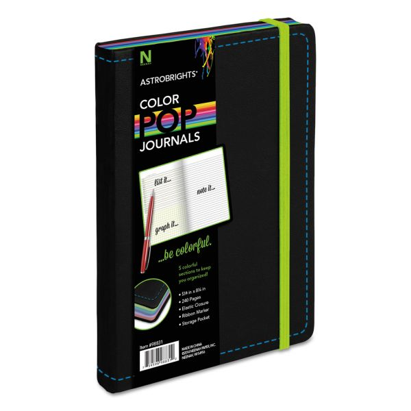 Astrobrights ColorPop Journal, College Ruled, 8 1/4 x 5 1/8, Black, 240 Sheets