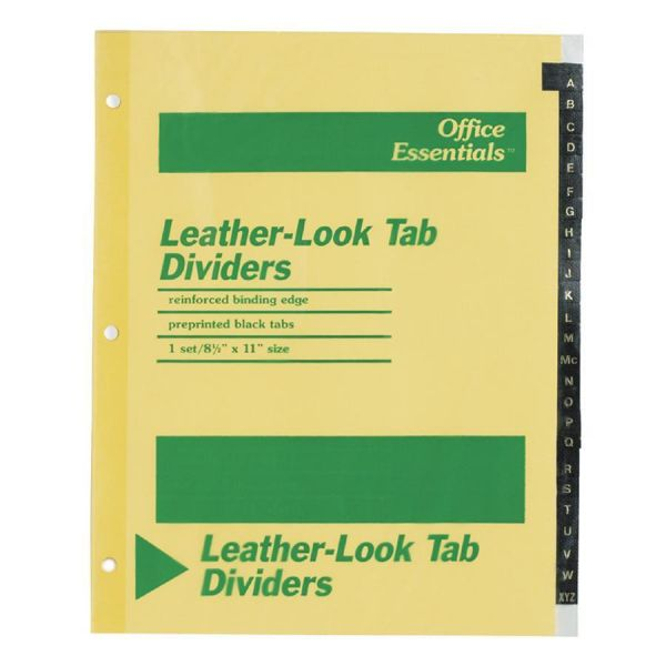 Office Essentials Preprinted Black Leather Tab Dividers, 25-Tab, Letter