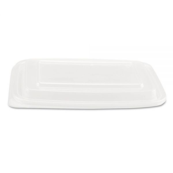 Genpak Microwave Safe Container Lid, Plastic, Fits 24-32 oz, Rectangular, Clear, 75/Bag