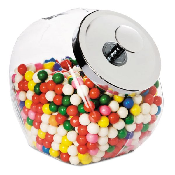 Office Settings Glass Jar w/Lid, 1 Gallon, Glass/Chrome