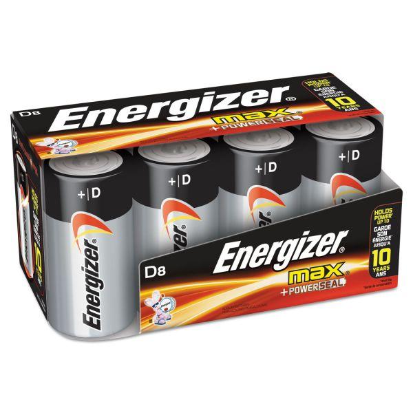 Energizer MAX Alkaline Batteries, D, 8 Batteries/Pack