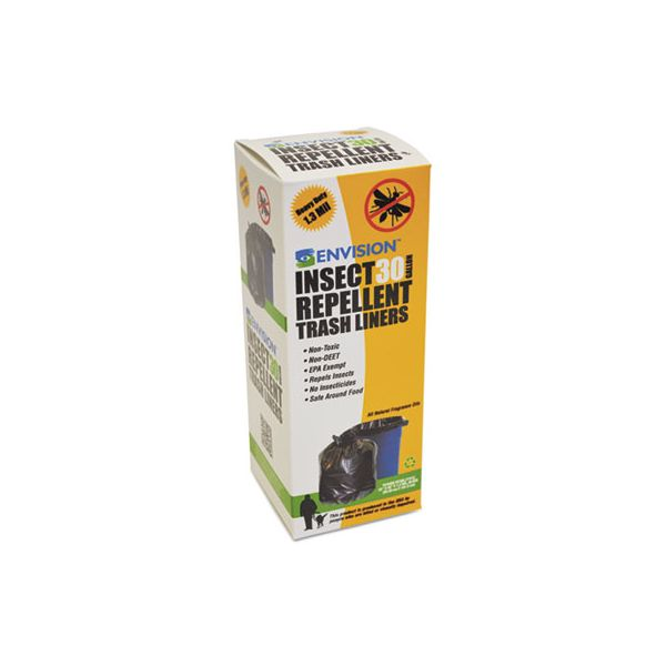 Stout by Envision Insect-Repellent Trash Bags, 33 x 40, 1.3 mil, Black