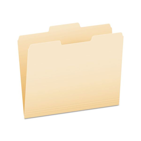 Pendaflex File Folders, 1/3 Cut, Second Position, Top Tab, Letter, Manila, 100/Box