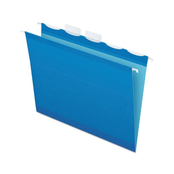 Pendaflex Colored Reinforced Hanging Folders, 1/5 Tab, Letter, Blue, 25/BX