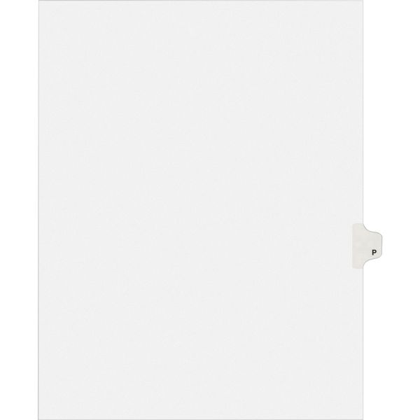 Avery Allstate-Style Legal Exhibit Side Tab Divider, Title: P, Letter, White, 25/Pack