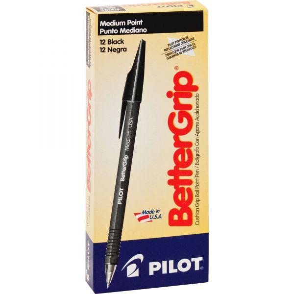 Pilot BetterGrip Ball Point Stick Pen, Black Ink, 1mm, Dozen