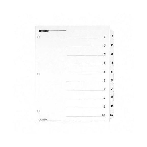 Cardinal OneStep Printable 10-Tab Numbered Dividers With Table Of Contents Page