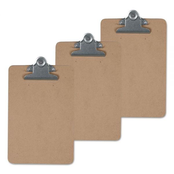 "Universal Hardboard Clipboard, 1"" Capacity, Holds 8 1/2 x 14, Brown, 3/Pk"