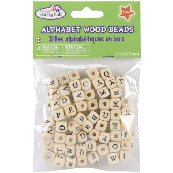 Wood Alphabet Beads