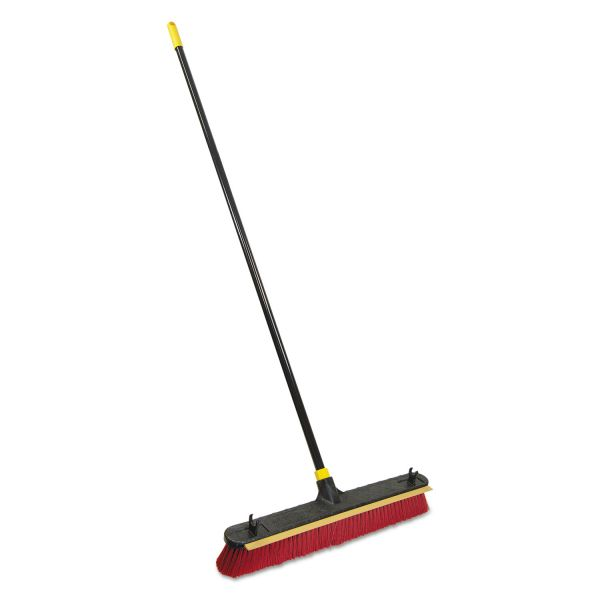 "Quickie 2-in-1 Squeegee Pushbroom, 24"" Brush, 60"" Handle, PET/Steel, Red/Black/Yellow"