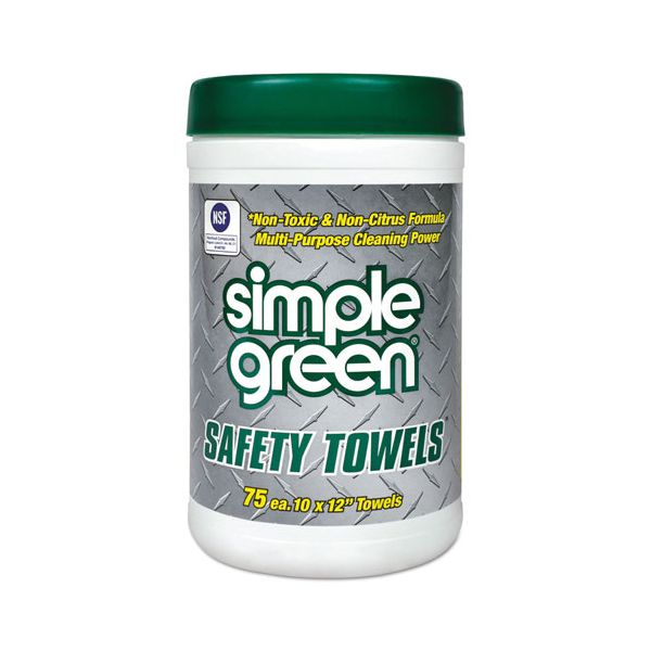 Simple Green Safety Towels, 10 x 11 3/4, 75/Canister