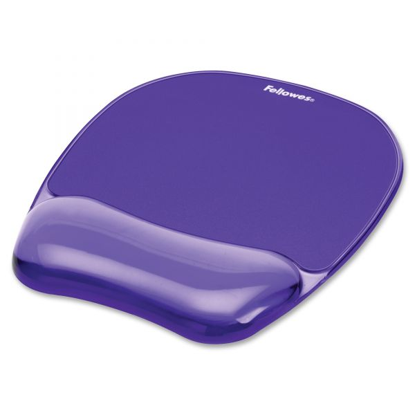 Fellowes Gel Crystals Mouse Pad w/Wrist Rest, Rubber Back, 7 15/16 x 9-1/4, Purple