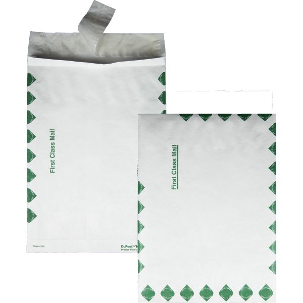 Survivor Tyvek Expansion Mailer, First Class, 10 x 13 x 1 1/2, White, 18lb, 100/Carton