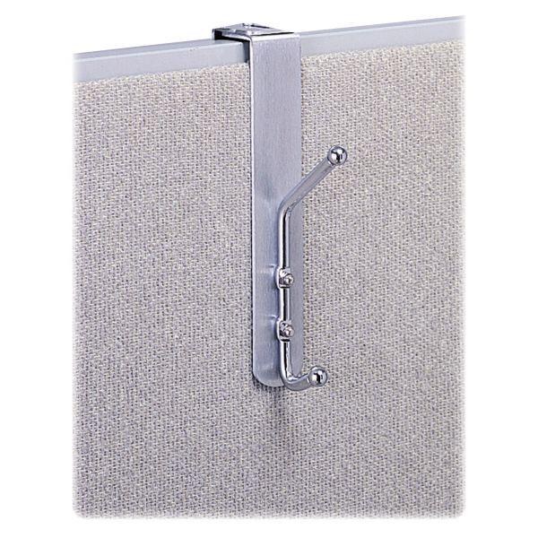 Safco Over-The-Panel Double-Garment Hook, Satin Aluminum/Chrome