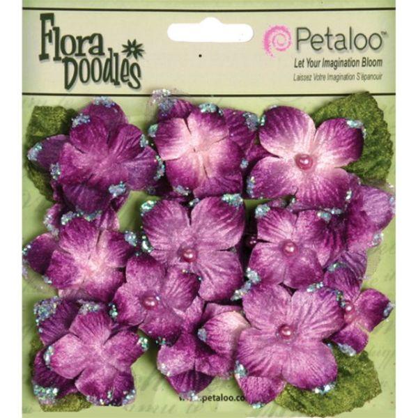 "Flora Doodles Velvet Hydrangeas 1"" To 1.5"" 22/Pkg"