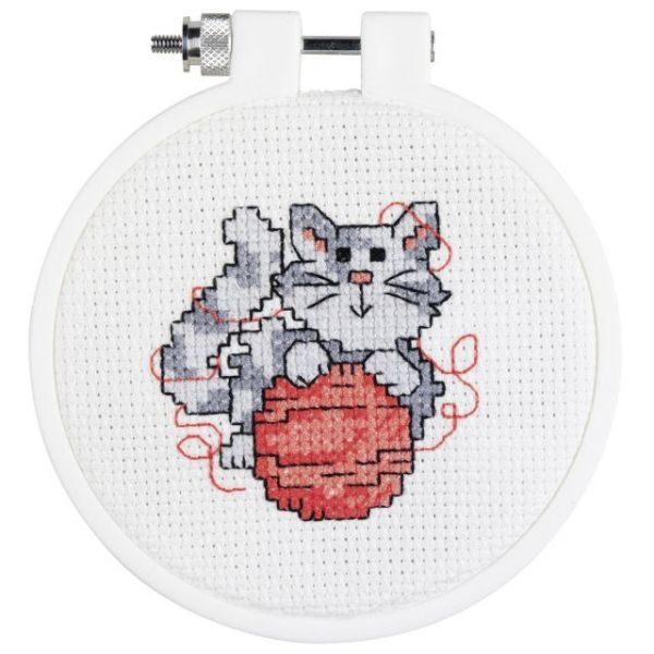 Kid Stitch Kitty Mini Counted Cross Stitch Kit