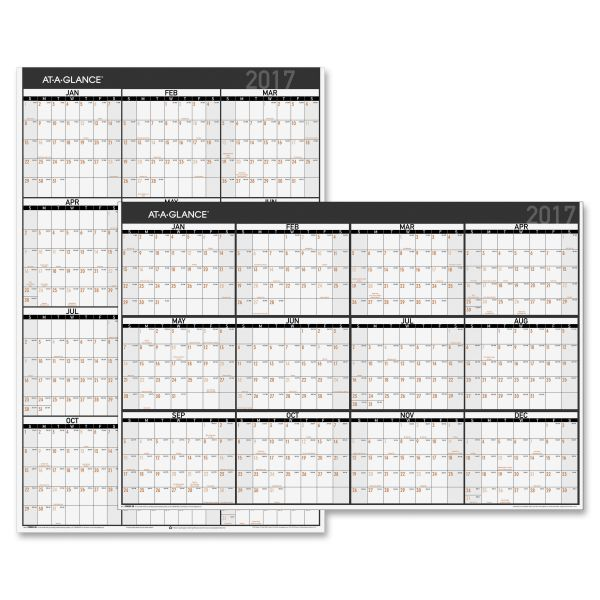 At-A-Glance 2-Sided Laminated Yearly Wall Calendar