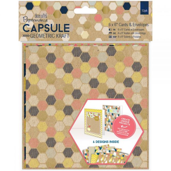 "Papermania Geometric Kraft Cards W/Envelopes 6""X6"" 12/Pkg"