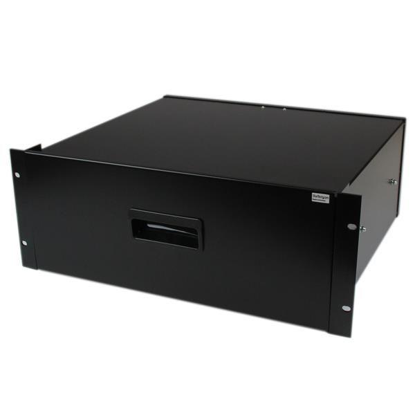 StarTech.com 4U Black Steel Storage Drawer for 19in Racks and Cabinets - 4U Black Sliding Rack Storage Drawer