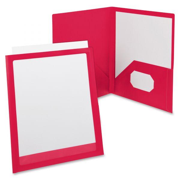 Oxford ViewFolio Polypropylene Portfolio, 50-Sheet Capacity, Red/Clear