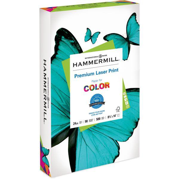 Hammermill Laser Print Office Paper, 98 Brightness, 24 lb, 8 1/2 x 14, White, 500 Sheets/Ream